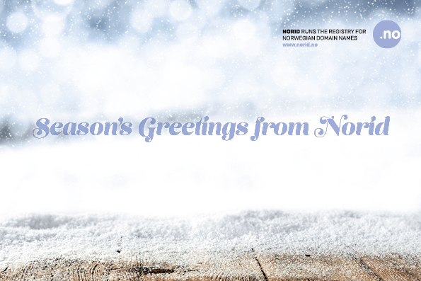 Image of snow with text 'Season's greetings from Norid'