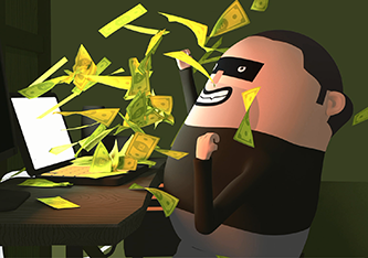 Cartoon illustration of a criminal celebrating as money pour out of his laptop screen.